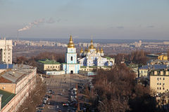 Ukraine. Kiev. Mikhailovskyi monastery and Sophia square . Veiw to Mikhailovskyi monastery and Sophia square in Kiev Stock Image