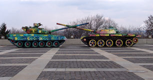 Ukraine. Kiev. Painted tanks near Monument of Motherland Royalty Free Stock Photos