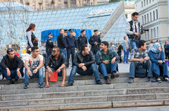 UKRAINE, KIEV - September 11,2013: Arab students are resting at Royalty Free Stock Images