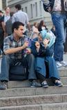 UKRAINE, KIEV - September 11,2013: Arab students are resting at Stock Photos