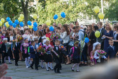 Ukraine.Kiev - September 1, 2016. First-graders and other studen Royalty Free Stock Photo