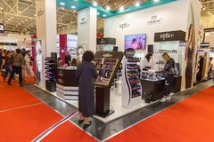 Exhibition stands of cosmetics manufacturers. Ukraine Kiev 22 September 2017: Intercharm Ukraine 2017 exhibition stands of cosmetics manufacturers. Fairs of Royalty Free Stock Photos