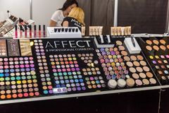 Exhibition stands of cosmetics manufacturers. Ukraine Kiev 22 September 2017: Intercharm Ukraine 2017 exhibition stands of cosmetics manufacturers. Fairs of Stock Image