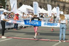 Ukraine, Kiev, Ukraine 09.09.2018 The girl first finish in the race. Promotion of healthy lifestyles stock images