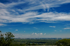 Ukraine, Kiev, view from the right bank of the Dnieper on the le Stock Photo