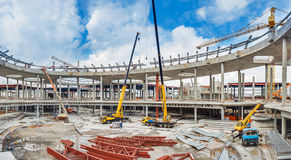 UKRAINE, KIEV. The work of construction machinery. Progress in the construction of shopping mall Republic Stock Photography