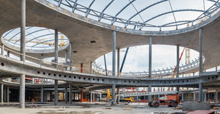 UKRAINE, KIEV. The work of construction machinery. Progress in the construction of shopping mall Republic Stock Photos