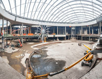 UKRAINE, KIEV.  The work of construction machinery. Progress in the construction of shopping mall Republic Royalty Free Stock Image