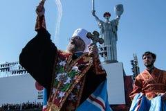 Ukraine, Kiew 8. Mai 2015: Neuzugänge der bewaffneten Kräfte von Ukraine nehmen eine Eidzeremonie teil Stockfotografie