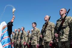 Ukraine, Kiew 8. Mai 2015: Neuzugänge der bewaffneten Kräfte von Ukraine nehmen eine Eidzeremonie teil Stockbild