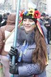 ukraine kiew Ukrainische Frau begrüßt die Ankunft von Senator McCain auf dem Unabhängigkeits-Quadrat Zeit: 14:32 bis 15/12/2013 Stockbild