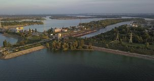 ukraine kiew Vyshgorod Kyiv-Meer aerial Dnieper vorratsbehälter GAES Ges stock video footage