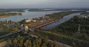 ukraine kiew Vyshgorod Kyiv-Meer aerial Dnieper vorratsbehälter GAES Ges stock footage