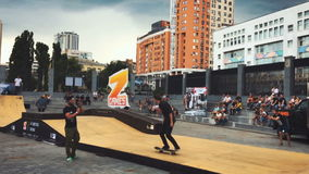 Ukraine, Kyiv- July 6, 2016. Competitions in skateboarding skatepark. Z-games. Ukraine, Kyiv- July 6, 2016. Competition in skateboarding at the outdoor skate stock footage