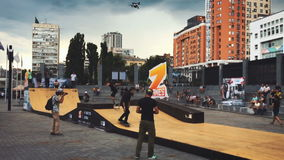 Ukraine, Kyiv- July 6, 2016. Competitions in skateboarding skatepark. Z-games. Ukraine, Kyiv- July 6, 2016. Competition in skateboarding at the outdoor skate stock video footage