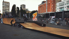 Ukraine, Kyiv- July 6, 2016. Competitions in skateboarding skatepark. Z-games. Ukraine, Kyiv- July 6, 2016. Competition in skateboarding at the outdoor skate stock video