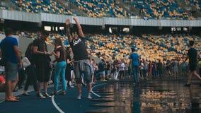 Ukraine, Kyiv- July 6, 2016. U-Park rock open air festival at the stadium. Ukraine, Kyiv- July 6, 2016. Rock festival in a football stadium in the open air U stock video