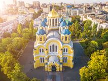 Ukraine Kyiv Kiev beautiful church. St Volodymyr`s Cathedral. Top vie from drone aerial photo. Famouse tourist places royalty free stock images