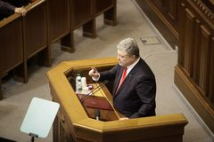 11.26.2018 Ukraine. Kyiv. Verkhovna Rada of Ukraine. Voting for the law on martial law in Ukraine. Petro Poroshenko talks about stock photo