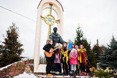 ukraine LEMBERG - 14. JANUAR 2016: Weihnachtskrippe Lizenzfreie Stockfotografie