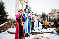 ukraine LEMBERG - 14. JANUAR 2016: Weihnachtskrippe Stockfoto