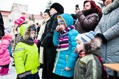 ukraine LEMBERG - 14. JANUAR 2016: Weihnachtskrippe Lizenzfreies Stockfoto