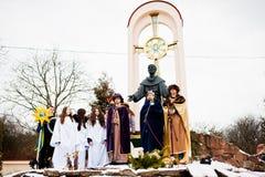 ukraine LEMBERG - 14. JANUAR 2016: Weihnachtskrippe Lizenzfreies Stockbild
