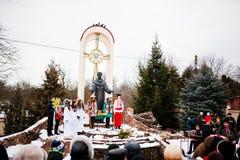 ukraine LEMBERG - 14. JANUAR 2016: Weihnachtskrippe Lizenzfreie Stockbilder