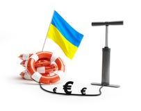 Ukraine lifebuoy pump euro money Stock Photos