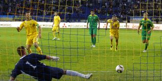 Ukraine - Lithuania football match Royalty Free Stock Images
