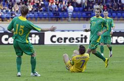 Ukraine - Lithuania national teams football match Royalty Free Stock Photography
