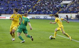 Ukraine - Lithuania national teams football match Royalty Free Stock Photos