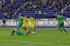 Ukraine - Lithuania national teams football match Stock Images