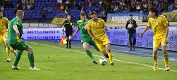 Ukraine - Lithuania national teams football match Royalty Free Stock Photography