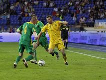 Ukraine - Lithuania national teams football match Royalty Free Stock Images