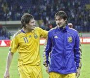 Ukraine - Lithuania national teams football match Royalty Free Stock Photos