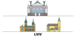 Ukraine, Lviv flat landmarks vector illustration. Ukraine, Lviv line city with famous travel sights, skyline, design. Ukraine, Lviv flat landmarks vector royalty free illustration