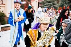 ukraine LVIV - 14 JANUARI, 2016: De scène van de Kerstmisgeboorte van christus Stock Fotografie