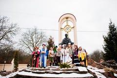 ukraine LVIV - 14 JANUARI, 2016: De scène van de Kerstmisgeboorte van christus Stock Afbeeldingen