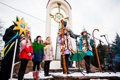 ukraine LVIV - 14 JANUARI, 2016: De scène van de Kerstmisgeboorte van christus Royalty-vrije Stock Foto