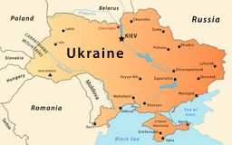 Ukraine map. Illustration of a detailed political map of Ukraine, with the most important cities, rivers and mountains