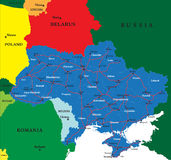 Ukraine map. Highly detailed map of Ukraine.Each Royalty Free Stock Photo
