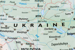 Ukraine map. Close-up shot of Ukraine map, a country in Eastern Europe Stock Images