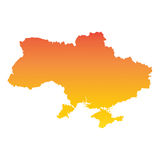 Ukraine map. Colorful orange vector illustration Stock Photos