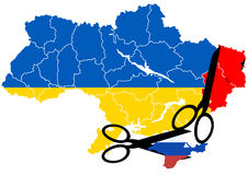 Ukraine map with the disputed territories Stock Images