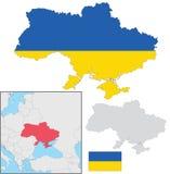 Ukraine map. With flag inside, EPS 10 Royalty Free Stock Photo