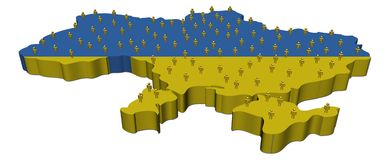 Ukraine map flag with many people Stock Photo