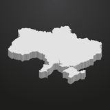 Ukraine map in gray on a black background 3d stock illustration