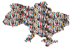 Ukraine map multicultural group of people integration immigration diversity. Isolated royalty free stock image