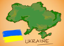 Ukraine Map and National Flag Vector Stock Photography
